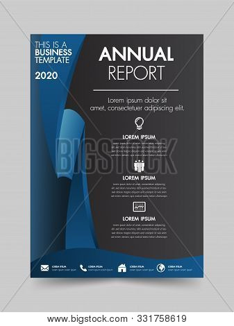 Brochure Design Flyer Template Blue Color Geometric Shapes Design Layout, Annual Report, Magazine, P