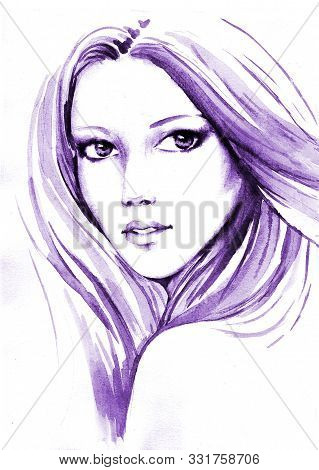 Beautiful Young Women With Long Blondy Hair, Hand Paint Watercolor Illustration.