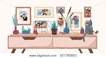 Family Portraits On Wall Flat Vector Illustration. Important Events Memorable Photographs In Home In