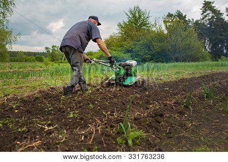 Garden Tiller To Work, Walk-behind Tractor, Day