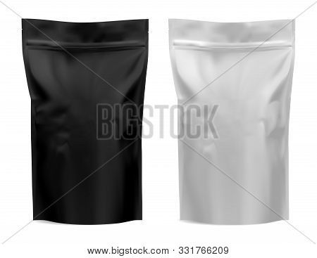 Coffee Package. Foil Bag Mockup. Flour, Tea Paper Pouch Blank Design. Black And White Food Product M