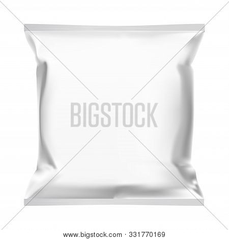 Snack Bag. Food Pouch Template Mock Up Design. Foil Sachet Blank Design. Potato Chips Snack Packet M