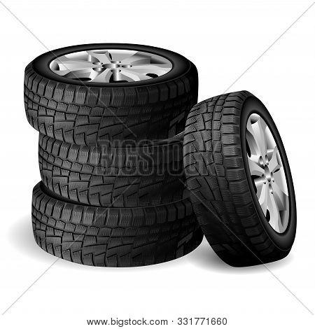 Winter Rubber Stack. Tyre Repair Shop. Auto Wheel Vector Illustration. Realistic Automobile Tire 3d