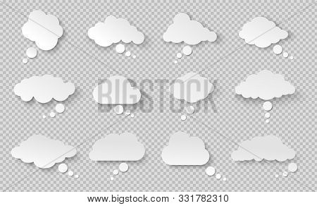 Thought Bubble. Think Cloud With Shadow. White Vector Speech Bubbles.