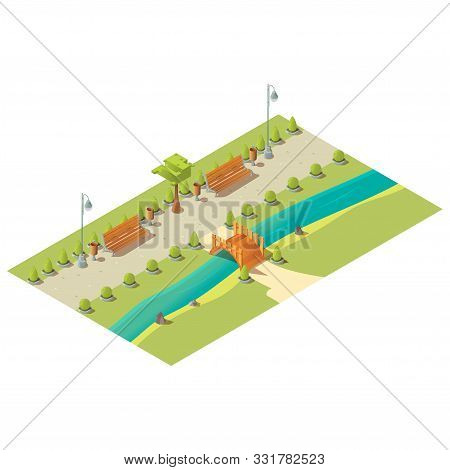 Isometric Park With Benches, Trees, Bushes, Wooden Bridge Above River And Litter Bins. City Street A