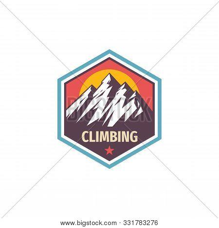 Climbing Extreme Sport - Concept Logo Badge Design. Mountains Logo. Hiking Creative Logo. Adventue O