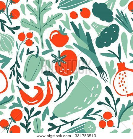 Seamless Pattern With Hand Drawn Red Or Green Fruits, Berries And Vegetables. Flat Pepper, Tomato, L