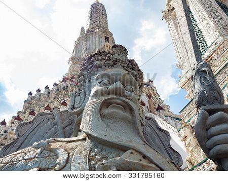 Sculpture Name Is Guan Yu In Asia Is Located Temple Wat Arun Ratchawararam Woramahaviharn At Bangkok