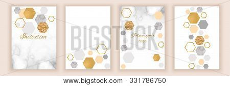 Marble Brochure Layout, Corporate Identity Set, Template Or Background In Trendy Minimalistic Geomet