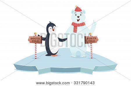 North South Pole Signs. Polar Bear And Penguin Poles Vector Illustration. Cute Cartoon Animals On Ic