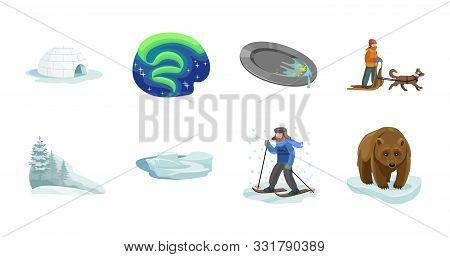Alaska Vector Cartoon Set.vector Illustration Of North Eskimo And Ice Arctic Inuit Igloo .north Alas