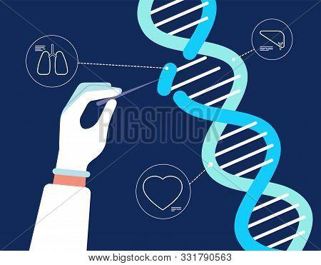 Dna Analysis. Genome Crispr Cas9 Biochemical Farmacity Medical Engineering Human Gene Mutation Resea