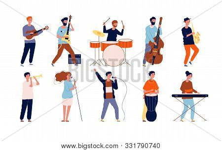 Musicians Characters. Creative Performing Peoples In Different Poses Playing At Musical Instruments