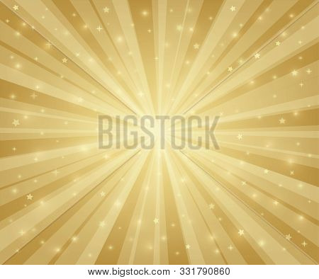 Abstract Gold Holiday Background. Holiday Magic Templates With Burst. Star Background. Poster, Banne