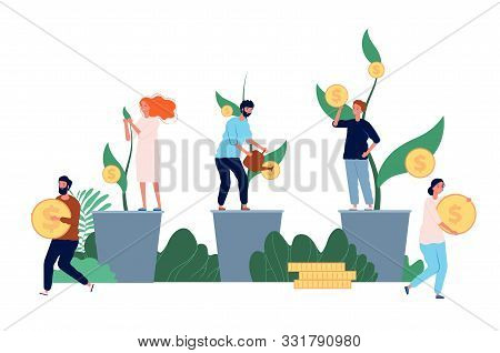 Growth Money. Businessman Standing Near Growth Coins Investment Or Cash Profit Vector Concept Flat P