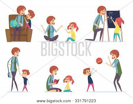 Babysitters. Nanny Playing With Kids Preschool Childrens Busy Parents Mom Vector Cartoon Characters.