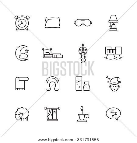 Sleep Icon. Sheep Insomnia Clouds Clocks Rest Sleeping Symbols Bed Pillow Vector Linear Pictures. Sl