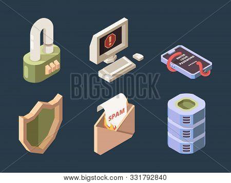Cyber Security. Online Ddos Hacker Attack Spam Bot Viruses Phishing Network Digital Data Protection