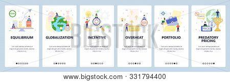 Mobile App Onboarding Screens. Business, Financial And Economy Icons, Globalization, Portfolio. Menu