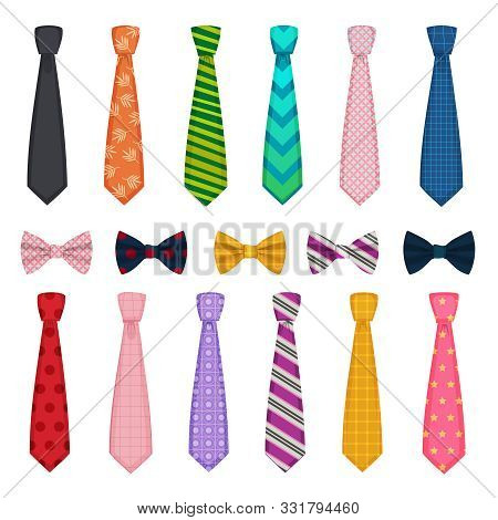Tie And Bows. Colored Fashion Clothes Accessories For Men Shirts Suits Vector Collections Of Ties. T