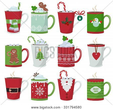 Christmas Mug. Holiday Decoration At Vessel For Hot Drinks Coffee Latte Or Tea Cup Vector Cartoon Il
