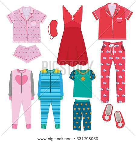 Pajamas. Textile Night Clothes For Kids And Parents Sleepwear Bedtime Pajamas Vector Colored Picture