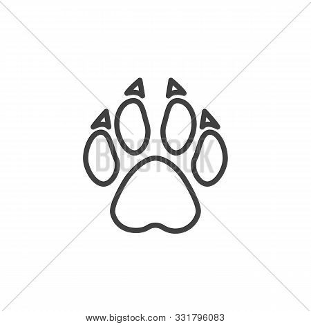 Wolf Paw Print Line Icon. Linear Style Sign For Mobile Concept And Web Design. Wolf Animal Footprint