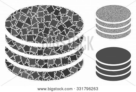 Coin Stack Mosaic Of Ragged Items In Different Sizes And Shades, Based On Coin Stack Icon. Vector Ra