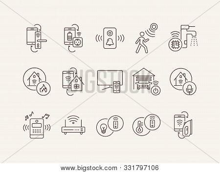 Smart House Icons. Smartphone And Door Lock, Smartphone And Socket, Doorbell. Smart House Concept. V