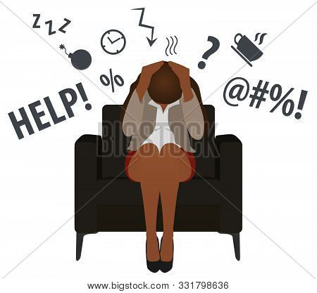 Overworked And Tired Black Business Woman Or Office Worker Sits In A Chair. Business Stress. Flat St