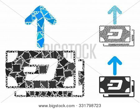 Dash Banknotes Pay Out Composition Of Abrupt Pieces In Various Sizes And Color Tinges, Based On Dash