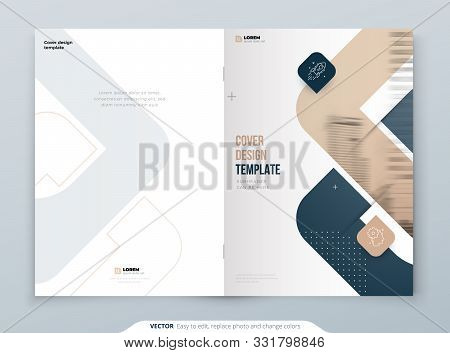 Biege Brochure Design. A4 Cover Template For Brochure, Report, Catalog, Magazine. Brochure Layout Wi