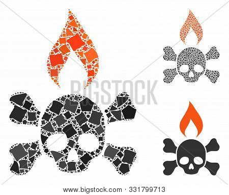 Death Ignition Mosaic Of Joggly Items In Different Sizes And Color Tinges, Based On Death Ignition I