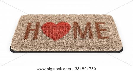 Brown Coir Doormat With Text Home Andheart Symbol Isolated On White Background. 3d Illustration