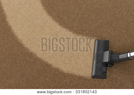 Vacuum Cleaner Brush On Dirty Carpet With Clean Strip. Vacuuming, Cleaning And Housework Concept. 3d