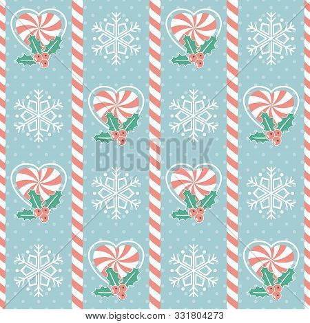 Christmas Pattern. Seamless Vector Illustration With Candy Canes, Mistletoe And Snowflake