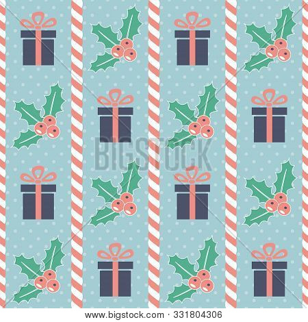 Christmas Pattern. Seamless Vector Illustration With Candy Canes, Mistletoe And Gift Boxes