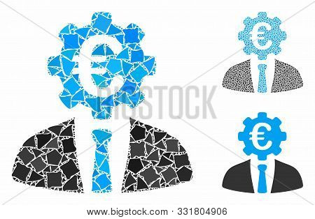 Euro Banker Mosaic Of Unequal Parts In Variable Sizes And Color Tinges, Based On Euro Banker Icon. V