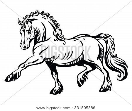 Monochrome Decorative Portrait Of Pony Steps In Profile, Training Pony. Vector Isolated Illustration
