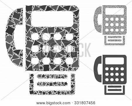 Fax Machine Composition Of Trembly Pieces In Various Sizes And Color Tints, Based On Fax Machine Ico