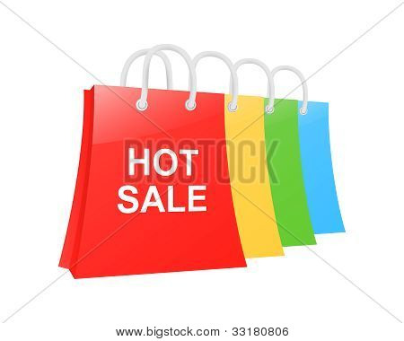 Hot Sale Shopping Bag Set. Vector Illustration
