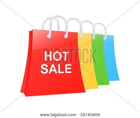 Conjunto de bolso de compras venta caliente. Ilustración de Vector