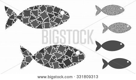 Fish Pair Composition Of Uneven Parts In Various Sizes And Color Tints, Based On Fish Pair Icon. Vec
