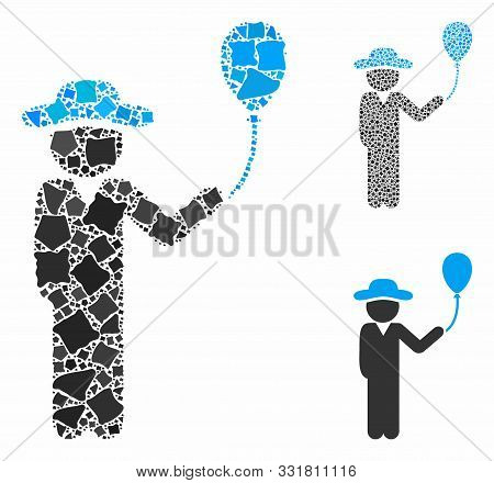 Gentleman With Balloon Composition Of Unequal Parts In Different Sizes And Color Tinges, Based On Ge