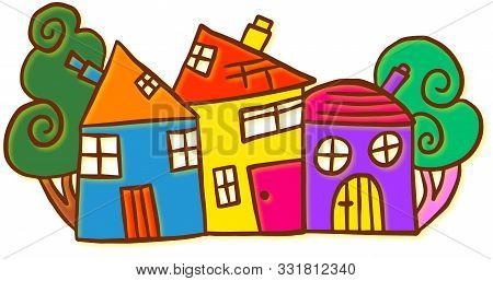 Colourful Doodle Of A Little Village With Quirky Houses And Trees.