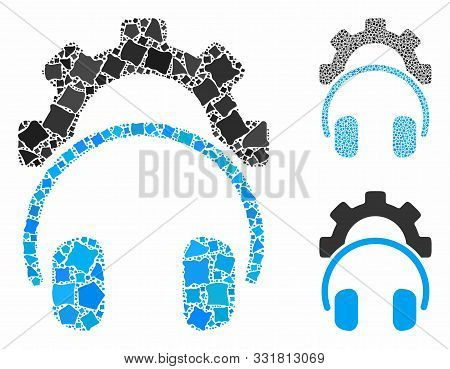 Headphones Configuration Gear Composition Of Bumpy Pieces In Various Sizes And Shades, Based On Head