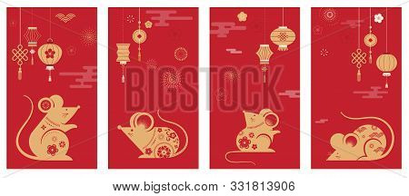 Happy Chinese New Year Design. 2020 Rat Zodiac. Cute Mouse Cartoon. Japanese, Korean, Vietnamese Lun