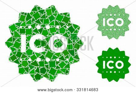 Ico Token Composition Of Tuberous Pieces In Various Sizes And Shades, Based On Ico Token Icon. Vecto