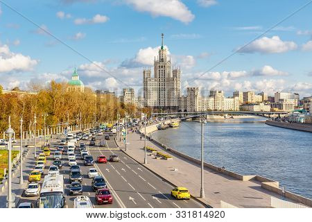 Moscow, Russia - October 08, 2019: Moskvoretskaya Embankment Of Moskva River Against Famous Stalin S