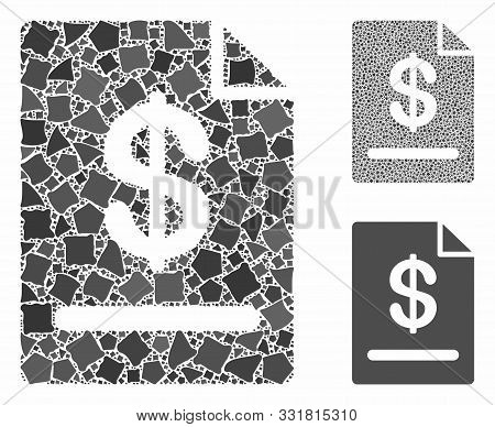 Invoice Mosaic Of Rugged Items In Various Sizes And Color Hues, Based On Invoice Icon. Vector Raggy